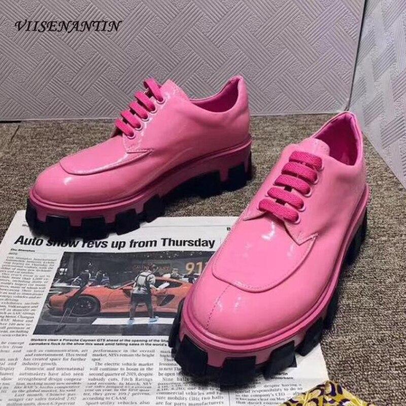 Plate-forme dame en cuir véritable baskets chaussure 2020 printemps nouveau britannique épais fond chaussures décontractées en cuir brillant à lacets mocassins