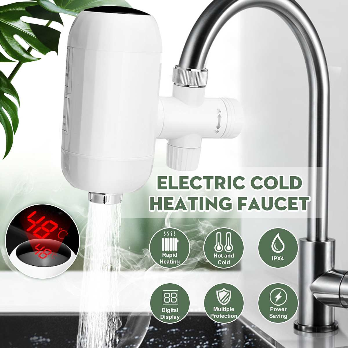 220V 3000W Instant Electric Faucet Tap Hot Water Heater Digital Display Kitchen Home Bathroom Faucet Tankless Water Heater Tap