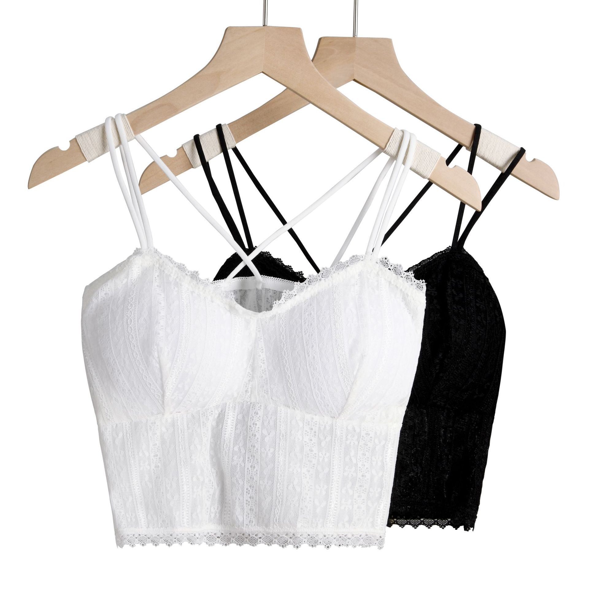 Women Lace Bralette Floral Lace Tanks Top Sexy Cami Tops Female Beauty Back Underwear Lingerie Padded Short Cropped Camisole