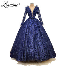Blue Glitter Pattern Evening Dress Dubai Design Long Sleeves Feather Beaded Formal Dresses Middle East Women Night Party Gowns