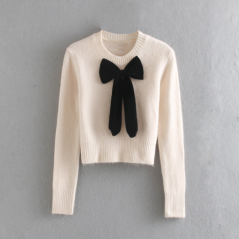 Women Zaraing2019 New Autumn And Winter Sweater Decorated With Velvet Bow