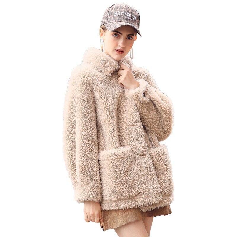 Sheep Real Shearling Fur Coat Female Jacket 2020 Winter Jacket Women 100% Real Wool Coats Korean Short Outwear MY3812 S