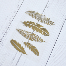 Happymems 5pcs Feather Iron On Patches foil For Art Clothes Decoration