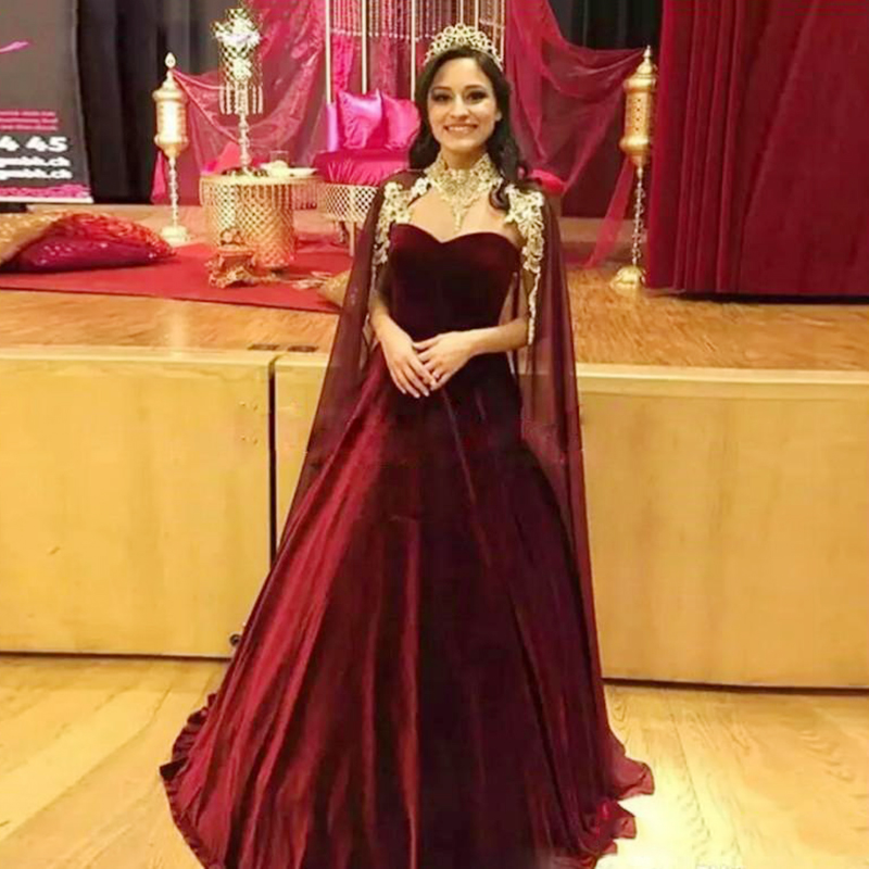 Eightree Charming Arabic Velvet Evening Dresses Wrap Sweetheart Prom Dress Appliques Pageant Gowns African Formal Party Dresses