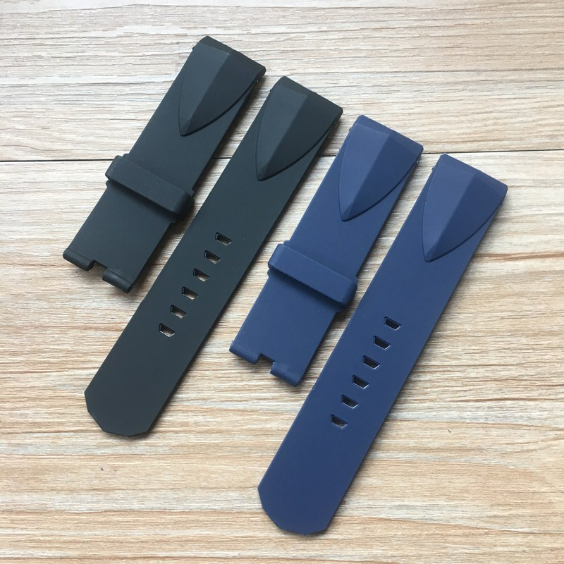 22mm 24mm Black  Blue Silicone Rubber Watchbands For Corum ADMIRAL'S CUP  Wacth Strap Wristband Bracelet Without buckle