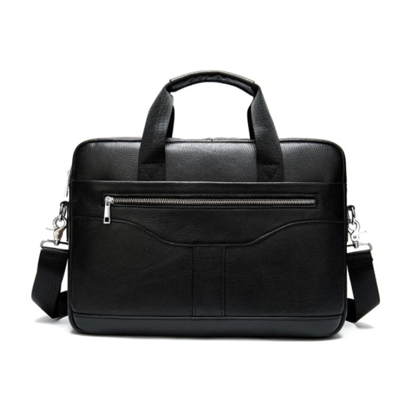 Luufan Genuine Leather Shoulder Briefcase Bag Doctor Daily Working Tote Bags Bussiness Man Bag Men Crossbody Messenger Bag Black