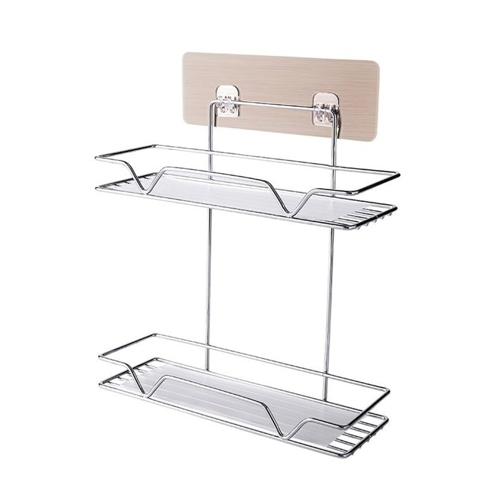 Wall-mounted Kitchen Basket Free  Perforated Paste  Wall-mounted  Perforated Layer Storage Box Without Trace Kitchen Rack