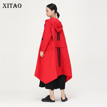 XITAO Hit Color Original Independent Design Trench Women Clothes 2019 Long Pocke