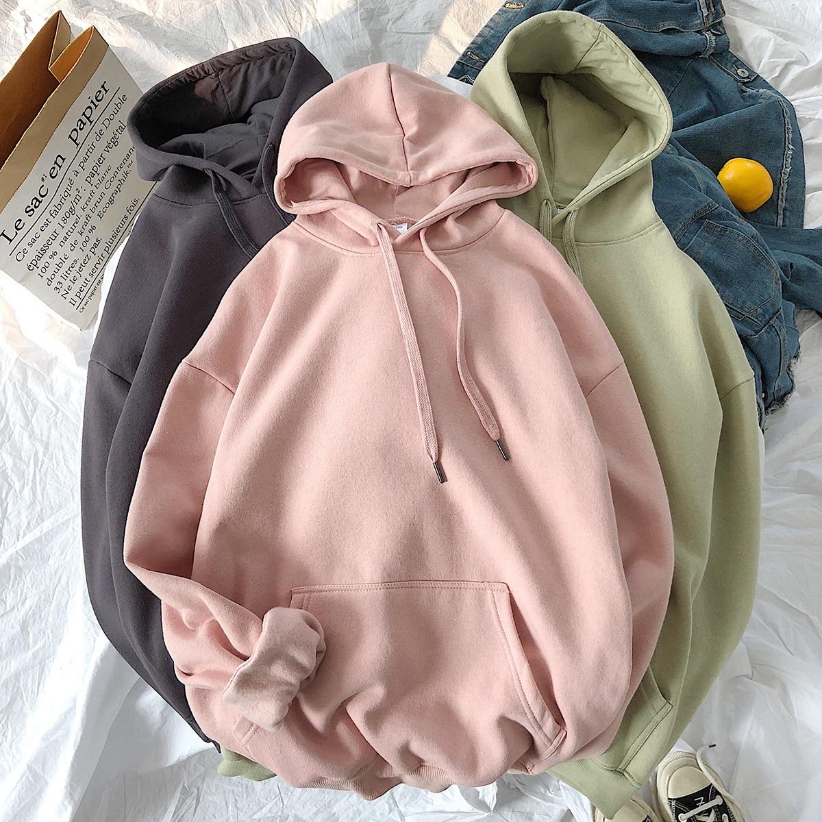 2020 New Hoodies Men Fashion Hooded Sweatshirt Solid Casual Streetwear Cotton Loose Hip Hop Hoodie Men Hoody Sweatshirts M-5XL