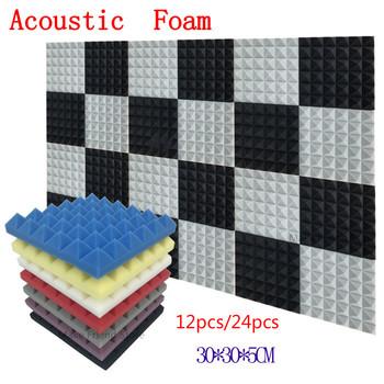 12 24Pcs 300x300x50mm Studio akustyczna pianka dźwiękochłonna absorpcja dźwięku leczenie Panel płytki klinowe ochronne dźwiękochłonne Spong tanie i dobre opinie NONE CN (pochodzenie) 300x300x50cm SKU0100 SKU0101 Taśmy uszczelniające foam ordinary