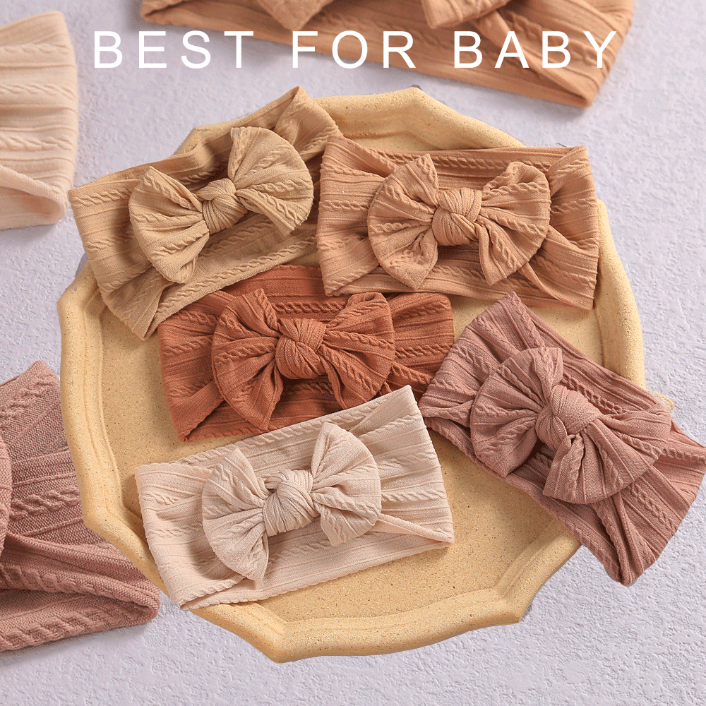 32 Colors Cable Bow Baby Headband for Child Bowknot Headwear Cables Turban for Kids Elastic Headwrap Baby Hair Accessories