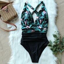 Сексуальный слитный купальник для женщин, на плече, Цветочный, женский купальник, купальники с эффектом пуш-ап, боди, пляжная одежда, гофрированный Монокини