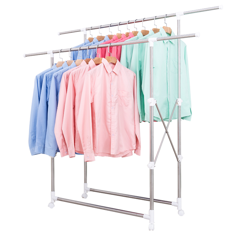 The Ground Stainless Steel Interior Double Pole Type Household Bask In Quilt Fold Balcony Clotheshorse