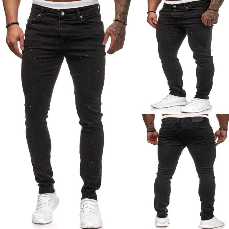 Mens Black Stretch Jeans 2020 Brand New White Dot Print Denim Trousers Pants Casual Slim Fit Hip Hop Pencil Jeans For Men S-XXXL