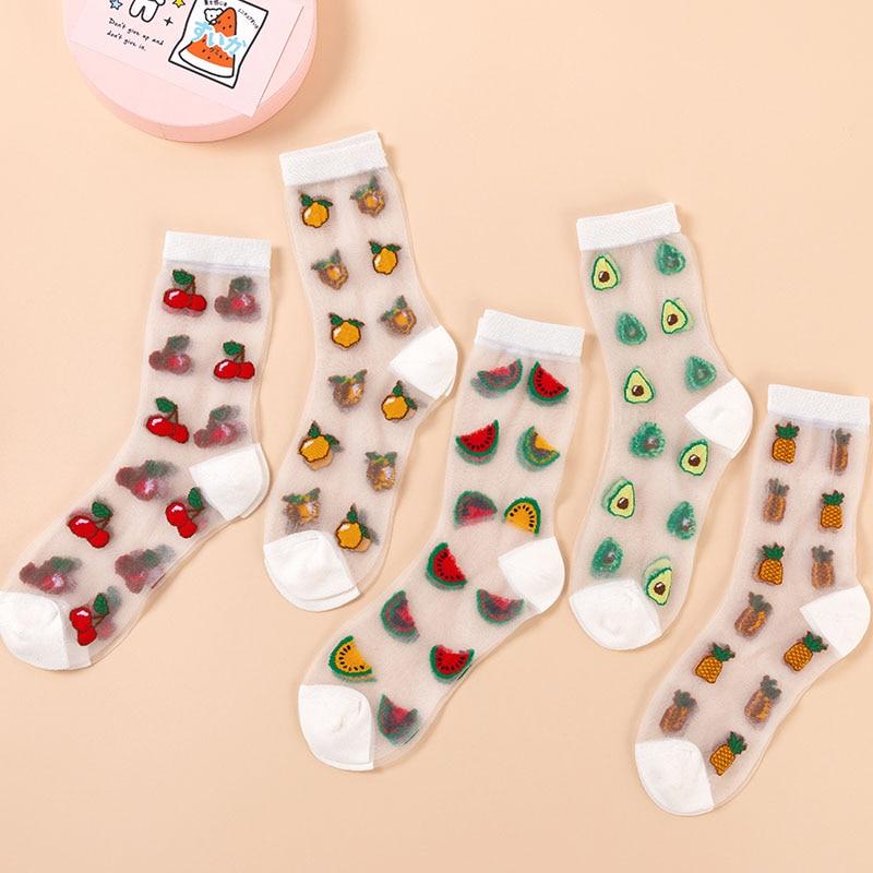 Korean Style Thin Transparent Funny Socks Women Fruit Avocado Watermelon Pineapple Creative Design Glass Skarpety Lace Sokken