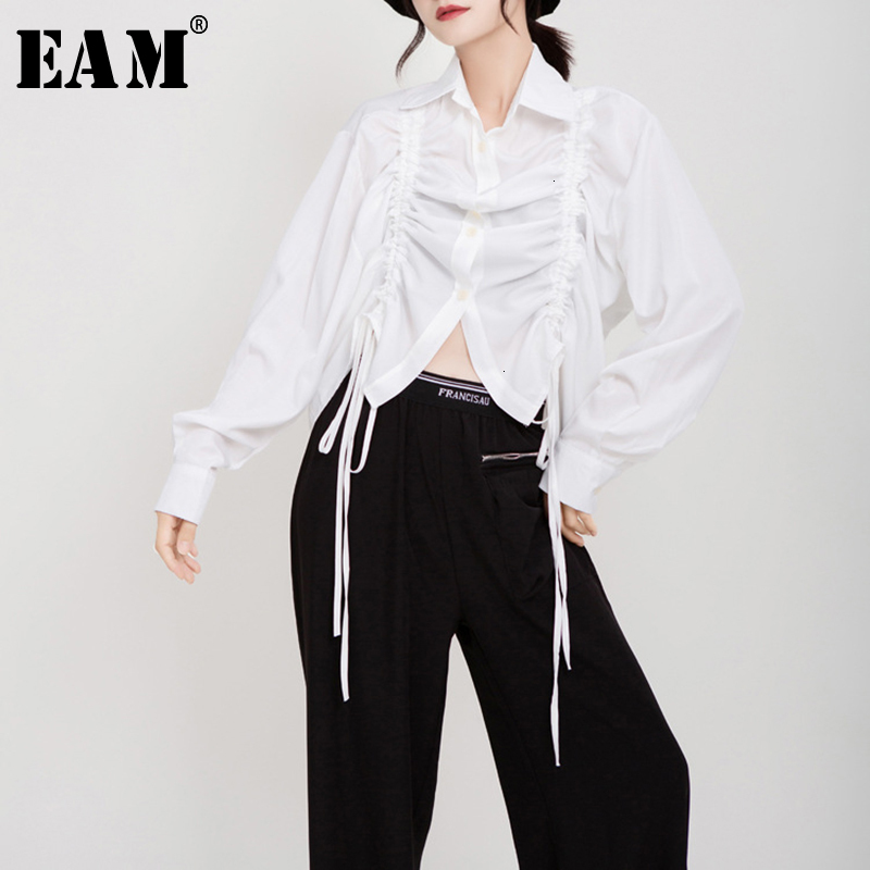 [EAM] Women Drawstring Pleated Big Size Blouse New Lapel Long Sleeve Loose Fit Shirt Fashion Tide Spring Autumn 2019 1D195