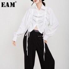 [EAM] Blusa plisada de talla grande con cordón para mujer, solapa nueva, camisa holgada de manga larga, moda de marea, primavera otoño 2020 1D195