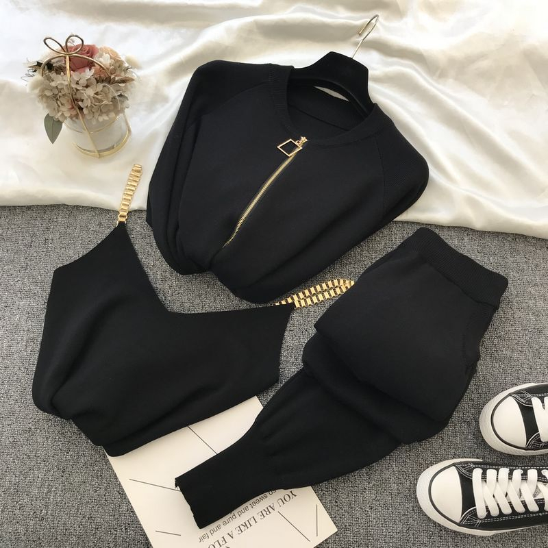 2020 autumn Knitted sweater suit casual new product temperament chain vest knitted jacket + elastic pants three-piece sets TZ423 1