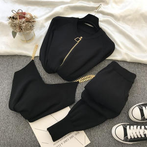 Sweater Suit Vest Chain Three-Piece-Sets Elastic-Pants Knitted-Jacket New-Product Casual