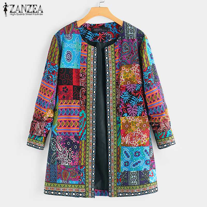 ZANZEA Ethnic Printed Cardigan Thin Coats Women's Jackets 2020 Casual Long Sleeve Blusas Open Stich Overcoats Plus Size S-5XL(China)