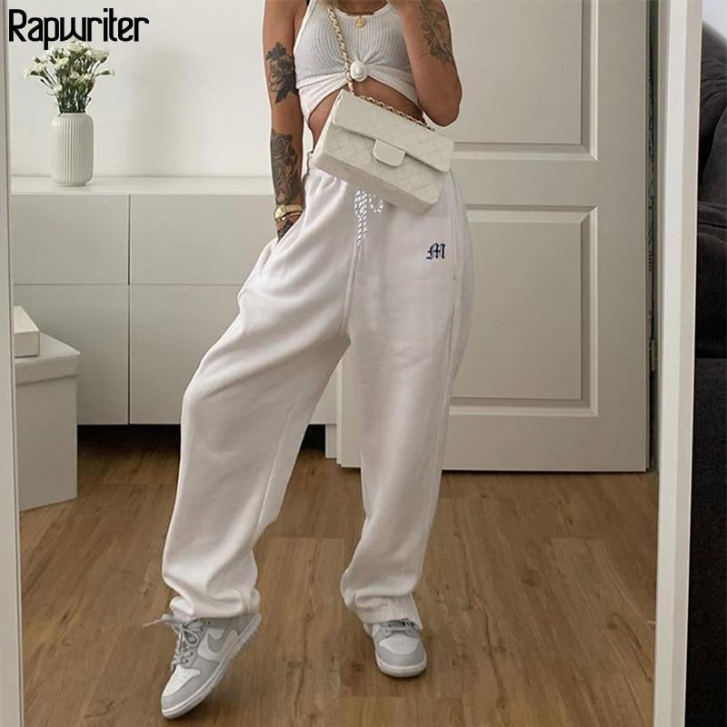 Streetwear Drawstring Embroidery Side Zipper White Sweatpants Joggers Women 2020 Harajuku Wide Trousers Hip Hop y2k Pants Capris