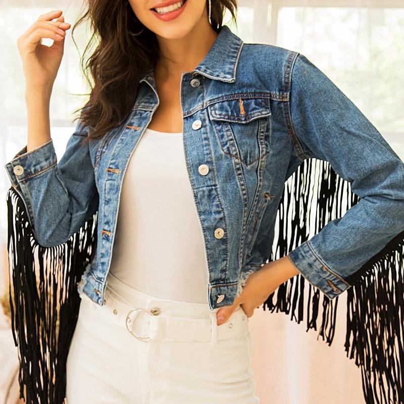 2020 Women Fashion tassel short Denim Jackets Spring Jeans Coats Casual Harajuku Streetwear Autumn Vintage Bomber Denim Coats