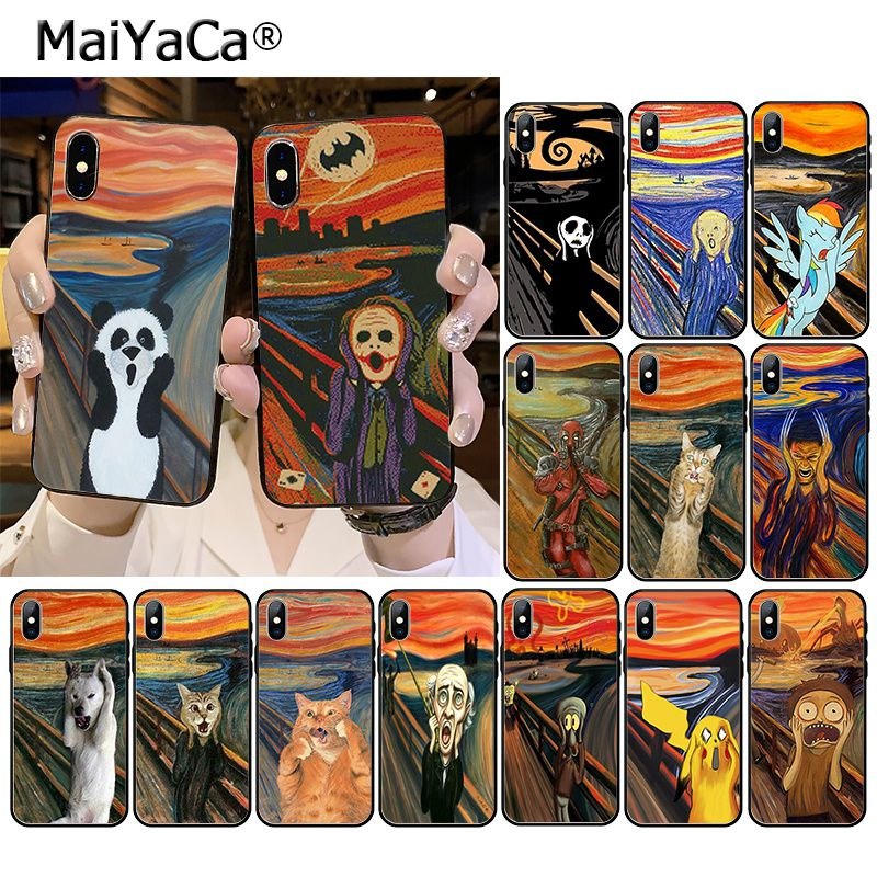 MaiYaCa Scream by Munch Funny Arting cat Phone Accessories Case for iPhone 11 Pro XS MAX XS XR 8 7 6 Plus 5 5S SE