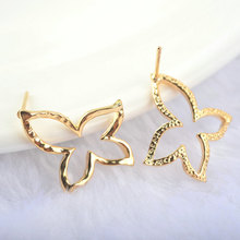 (23)6PCS Butterfly 16*15MM 24K Gold Color Brass Butterfly Stud Earrings Pins High Quality Diy Jewelry Findings Accessories все цены