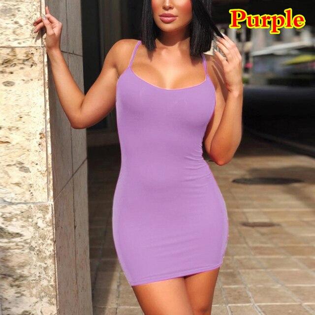 Spaghetti Strap Camisole Mini Dress Women Sexy Bodycon Club Party Dresses 2021 Summer New Pure Color Sundress Plus Size XS-5XL 11