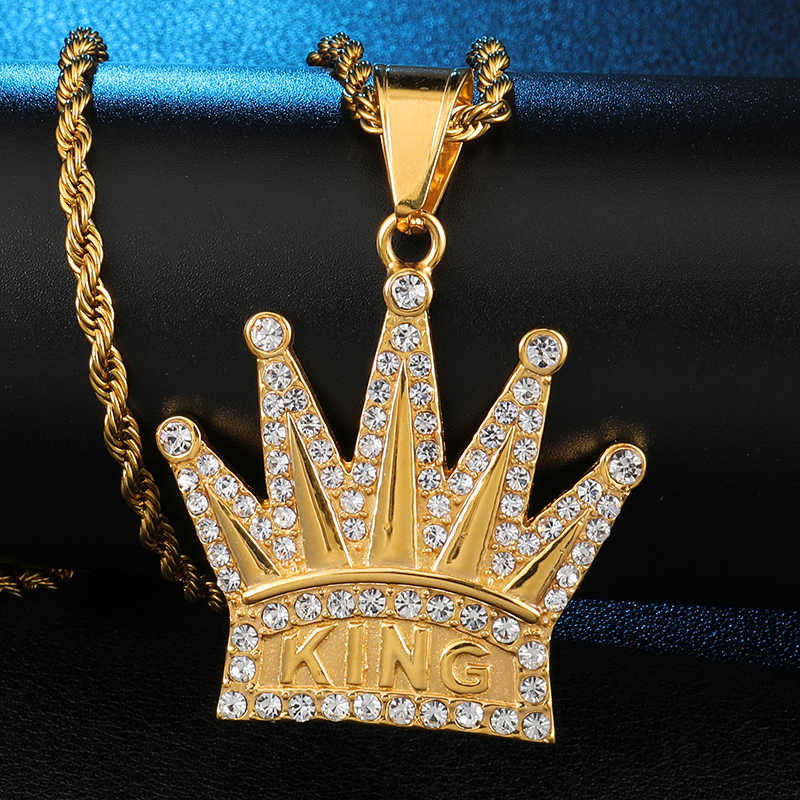 US7 Bing Iced out korona król wisiorki naszyjniki mężczyźni stal nierdzewna kryształ Hip Hop raper łańcuch tenisowy fajna biżuteria uliczna