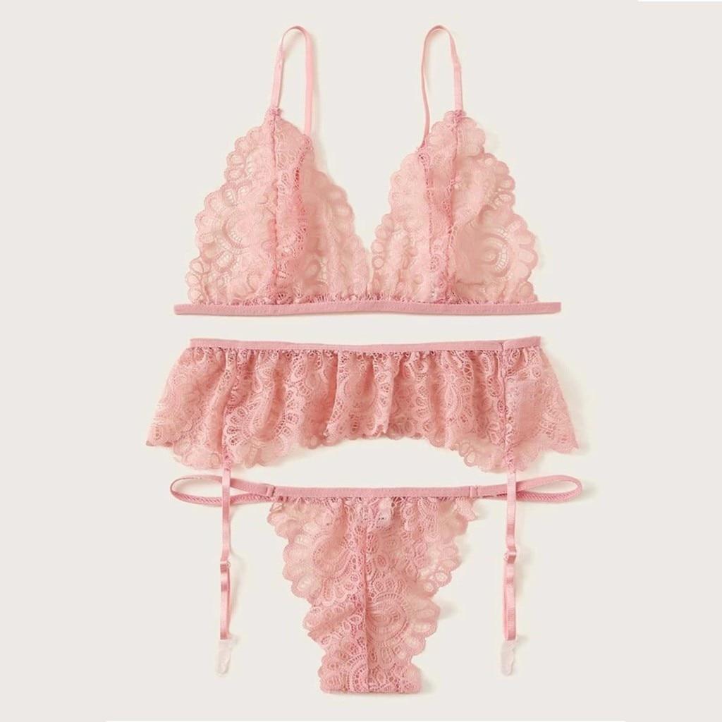 Ladies Wireless Bra Thong With Garter Sexy Lace Mesh Sheer Pajamas Lntimate Female Underwear Lingerie Ladies Brief Femme Sets