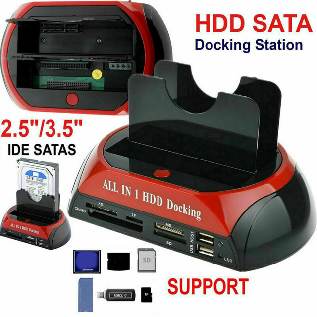 Estación de acoplamiento todo en uno de doble bahía, 2,5 pulgadas, 3,5 pulgadas, HDD, SATA, USB 2,0 a IDE, SATA, disco duro, base de clonación OTB con lector de tarjetas