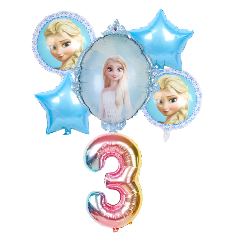 elsa Disney Frozen princess helium balloons 32inch number Baby shower girl foil globos birthday party decorations kids toys