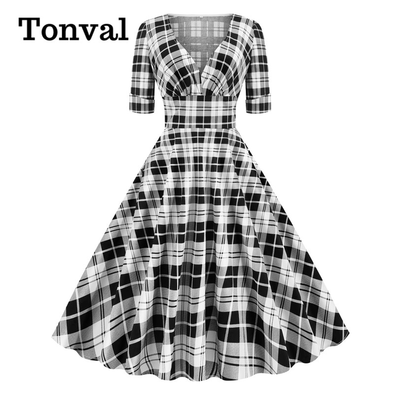 CLOUD Black Plaid Neckline Dress Black White Cotton and Linen Round Collar Sleeveless Dress