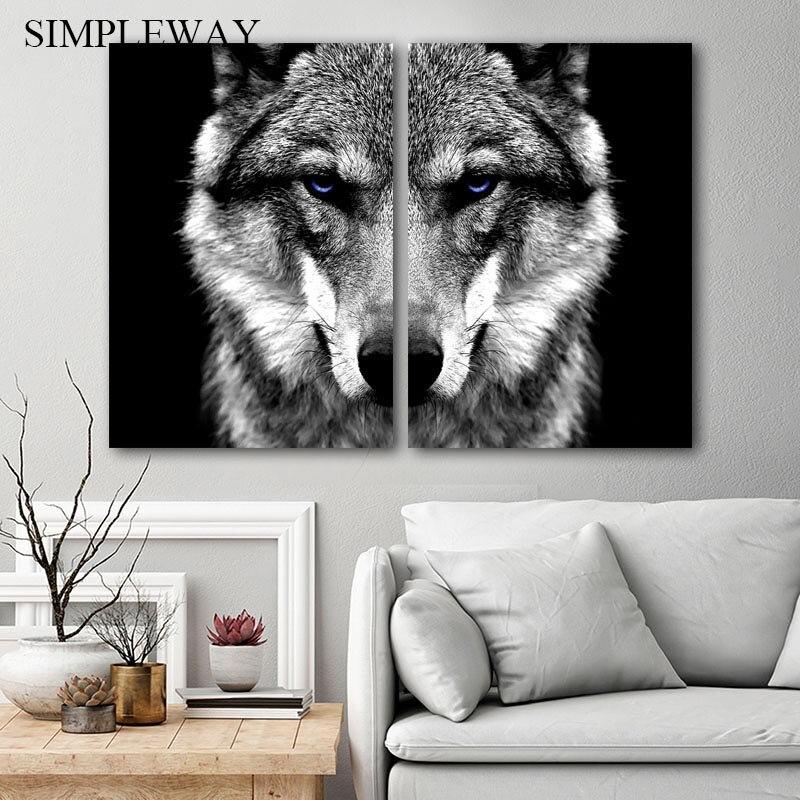>Wall Art Picture Wolf Head Animal Poster Nordic <font><b>Style</b></font> Black White Canvas Print Painting Scandinavian <font><b>Modern</b></font> <font><b>Home</b></font> Room Decoration