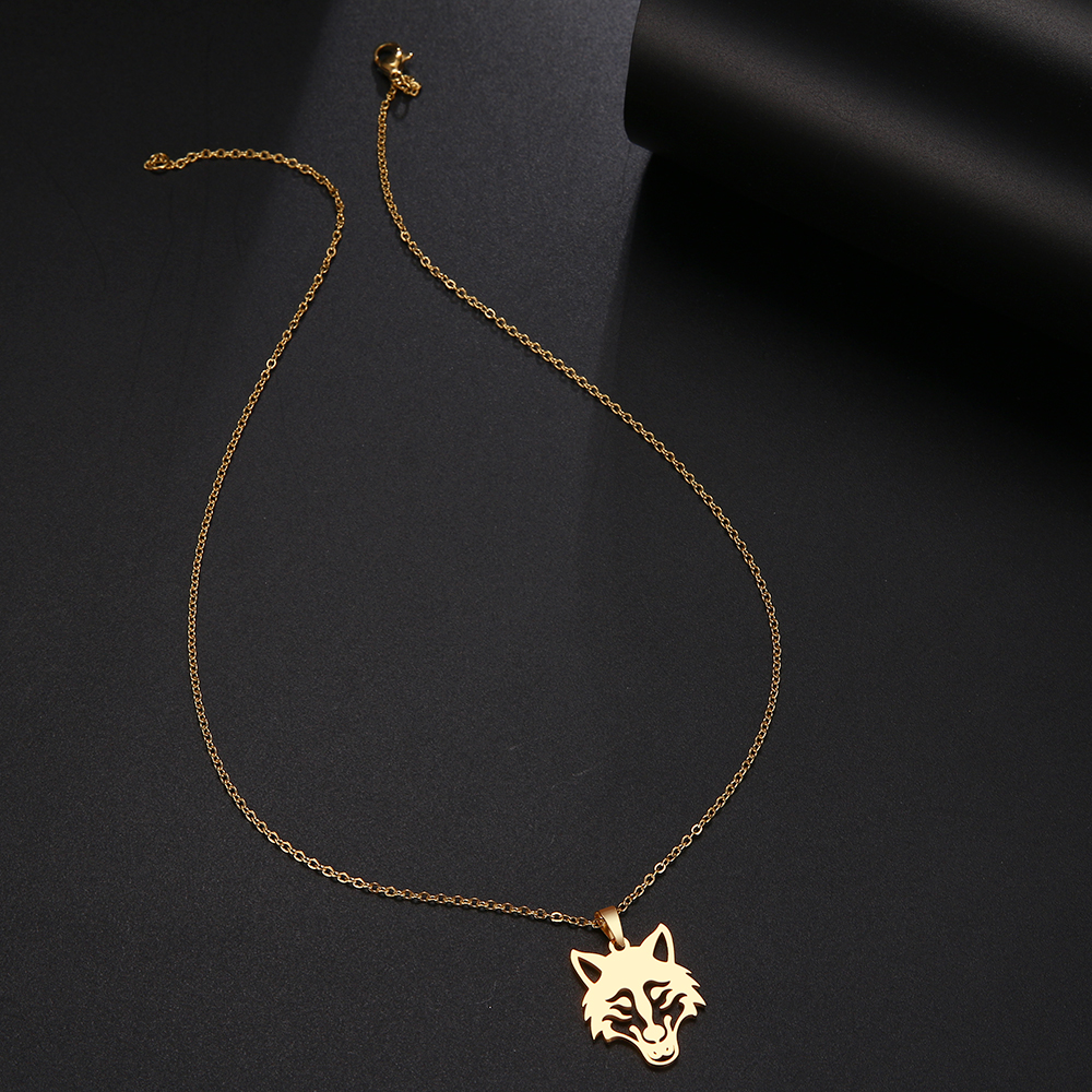 Wolf Head Stainless Steel Necklace