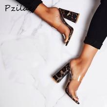 Pzilae 새로운 검투사 슬라이드 여성 신발 샌들 섹시한 하이힐 레오파드 그레인 슬리퍼 여성 여름 pvc 투명 파티 신발