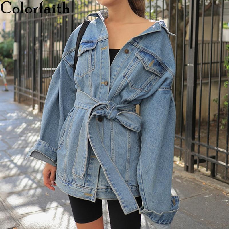Colorfaith/Новинка 2019 года; осенне-зимние женские джинсовые куртки с поясом; Верхняя одежда на шнуровке; модные синие длинные джинсы; JK8922
