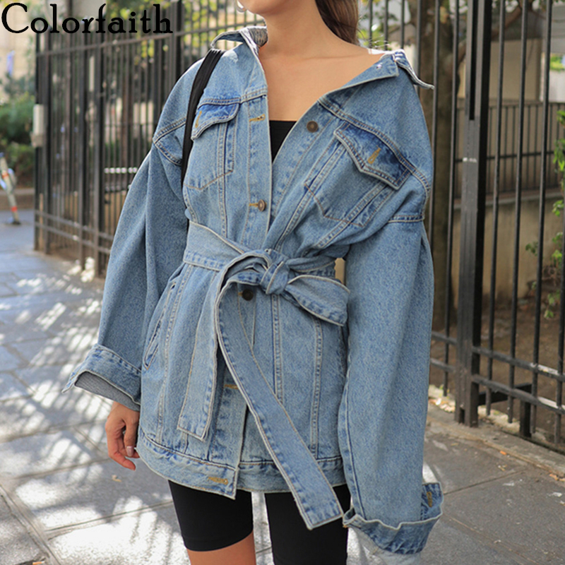 Colorfaith New 2019 Autumn Winter Women's Denim Jackets Sashes Lace Up Outerwear High Street Fashionable Blue Long Jeans JK8922