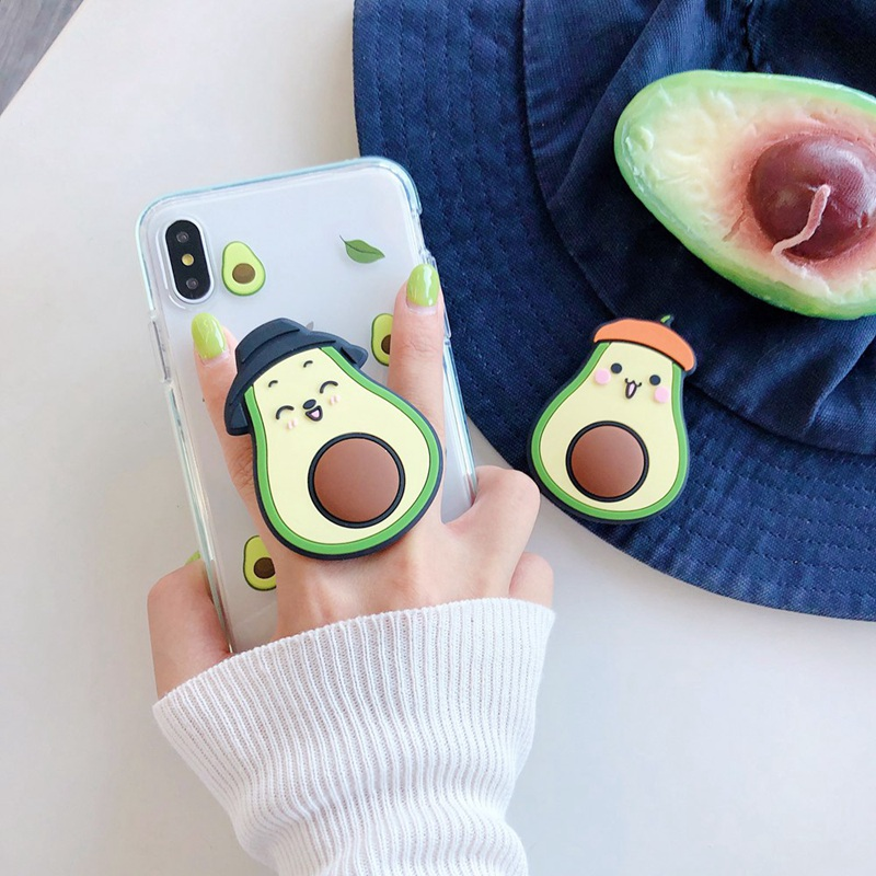 Avocado Silicone Multi-Function Phone Holder Grip Mount Socket Air Bag Bracket For Mobile Phone And Small Table.