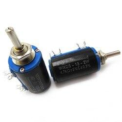 2 шт. WXD3-13-2W 100 Ом WXD3-13 2 Вт Электрический поворотный боковой поворотный многооборотный проволочный потенциометр