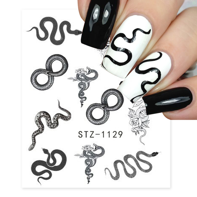 Winter Nail Stickers Snake Animal Design Black Snake Tattoo Manicure Dragon Nail Decals Slider Water Wraps Tool GLSTZ1124 1131|Stickers & Decals|   -