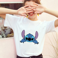Showtly Lilo Stitch Lie On Women's Fashion T-Shirt Harajuku Kawaii Short Sleeve Vintage Lovely Carto