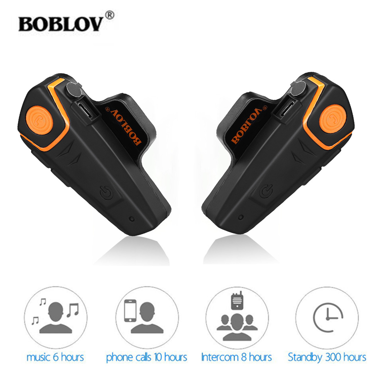2 Pcs BOBLOV BT-S2 1000m  Motorcycle Helmet Intercom Headset Handsfree Moto Bluetooth BT Interphone Waterproof FM MP3 Type-C