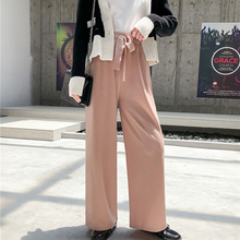 New 2019 Autumn Women Wide Leg Pants Loose High Waist Casual Vertical Soft Pleated Trousers Dropshipping