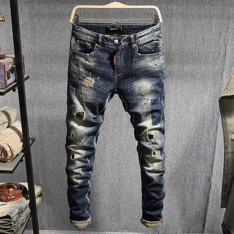 Italian Style Fashion Men Jeans Dark Blue Slim Destroyed Ripped Jeans Men Hip Hop Pants High Quality Streetwear Designer Jeans