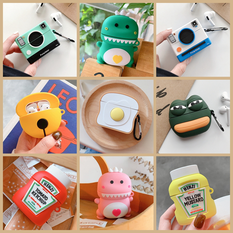 For Huawei Freebuds 3 Case 3D Cute Frog Dinosaur Camera Ketchup Headphone Cover For Huawei FreeBuds 3 Pro Free Buds 3 Soft Case