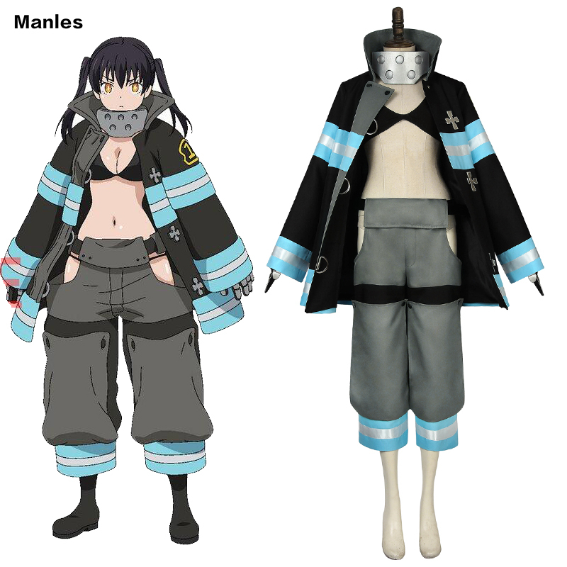 Anime Fire Force Costume Blazing Firefighting Corps Cosplay Tamaki Kotatsu Adult Custom Halloween Fire Brigade Uniform Team Girl