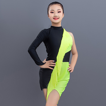 Latin Dance Performance Dress Girls Party Costume Fluorescent Green Tassel Skirts Kids Clothes Competition Practice Wear 3489