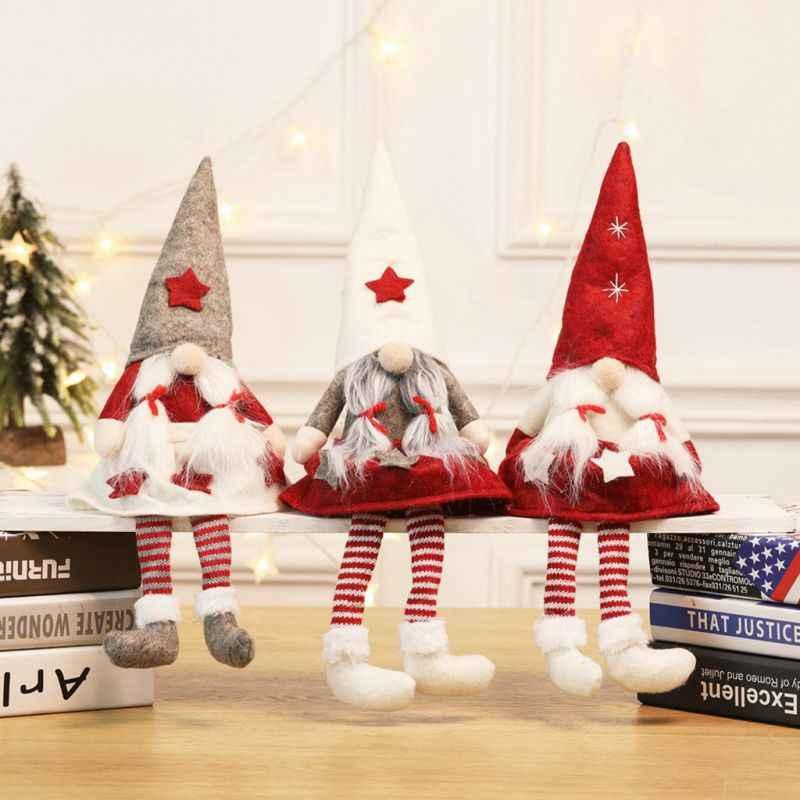クリスマスオーナメント顔のないぬいぐるみアイデアボーイ/ガールクリスマス人形装飾休日置物結婚式誕生日パーティーギフト